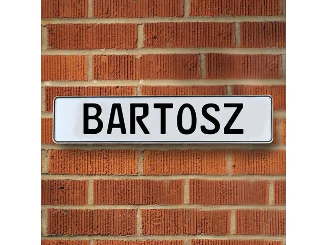 Vintage parts USA VPAYD367 Bartosz White Stamped Aluminum Street Sign Mancave Wall Art
