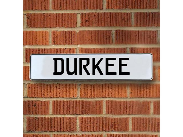 Vintage parts USA VPAY166EE Durkee White Stamped Aluminum Street Sign Mancave Wall Art