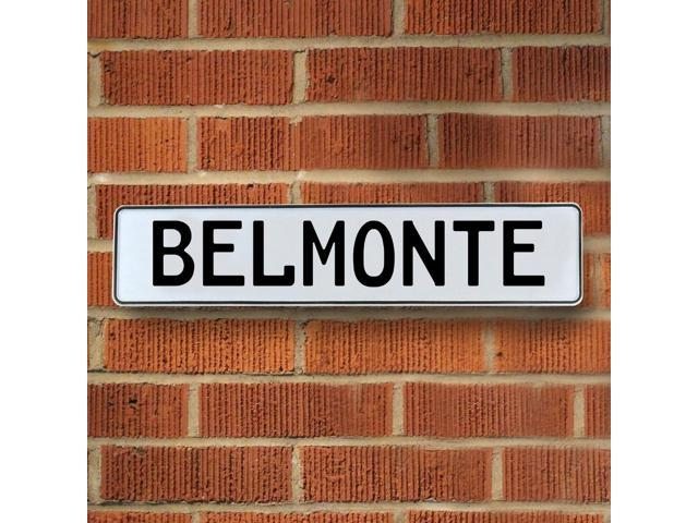 Vintage parts USA VPAYD71D Belmonte White Stamped Aluminum Street Sign Mancave Wall Art