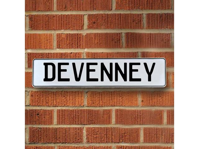 Vintage parts USA VPAY15E9C Devenney White Stamped Aluminum Street Sign Mancave Wall Art