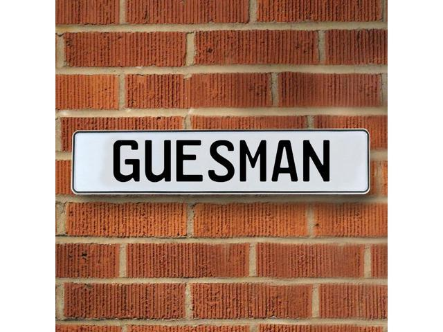 Vintage parts USA VPAY1B03A Guesman White Stamped Aluminum Street Sign Mancave Wall Art
