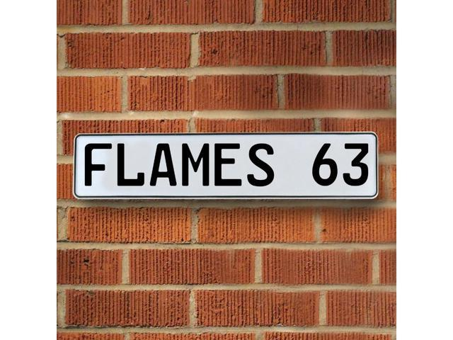 Vintage parts USA VPAY21C3 FLAMES 63 NHL Calgary Flames White Stamped Street Sign Mancave Wall Art