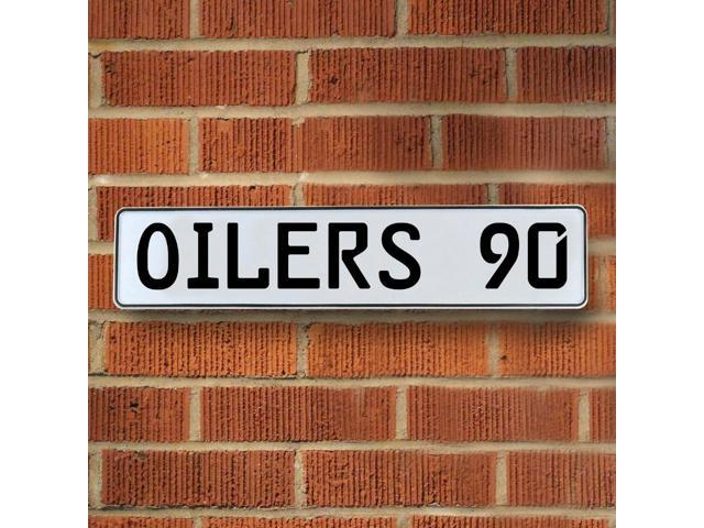 Vintage parts USA VPAY2243 OILERS 90 NHL Edmonton Oilers White Stamped Street Sign Mancave Wall Art