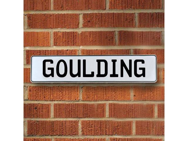 Vintage parts USA VPAY1AC37 Goulding White Stamped Aluminum Street Sign Mancave Wall Art