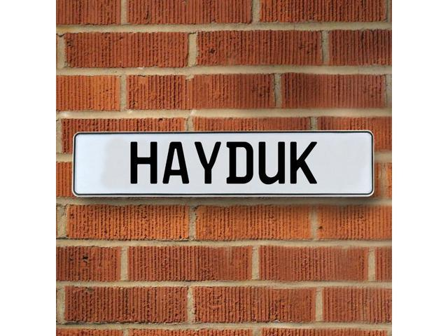 Vintage parts USA VPAY1B794 Hayduk White Stamped Aluminum Street Sign Mancave Wall Art