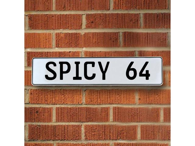 Vintage parts USA VPAY93EF SPICY 64 White Stamped Aluminum Street Sign Mancave Wall Art