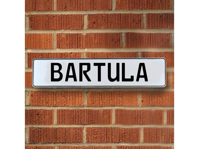 Vintage parts USA VPAYD372 Bartula White Stamped Aluminum Street Sign Mancave Wall Art