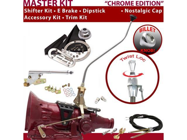 American Shifter Company ASCS1C7G42M1D TH400 Shifter Kit 23 Swan E Brake Cable Clevis Trim Kit Dipstick For F6300
