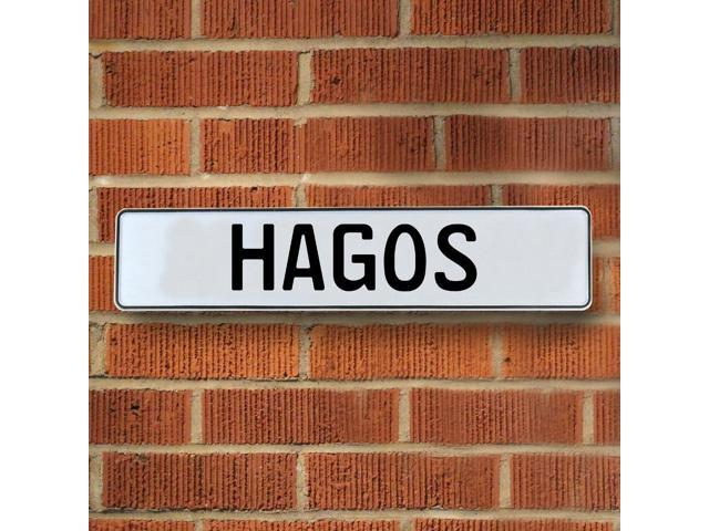 Vintage parts USA VPAY1B2C8 Hagos White Stamped Aluminum Street Sign Mancave Wall Art