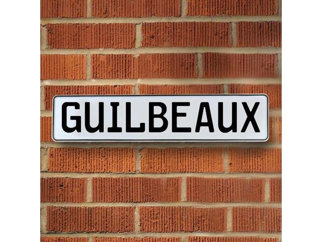 Vintage parts USA VPAY1B073 Guilbeaux White Stamped Aluminum Street Sign Mancave Wall Art