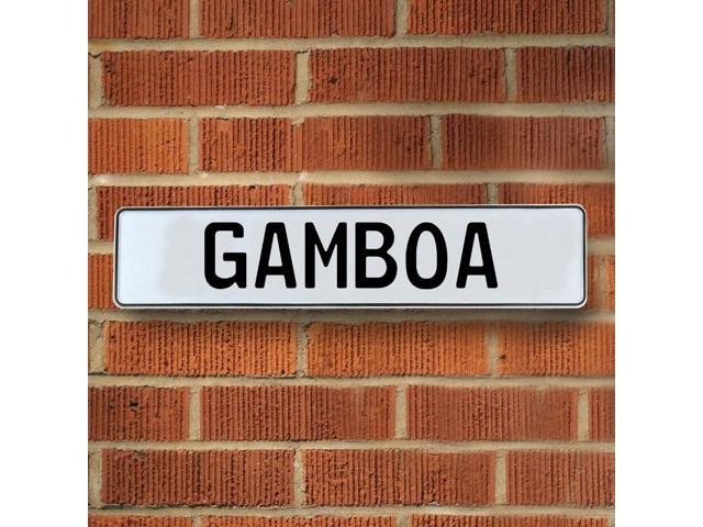 Vintage parts USA VPAY1A27B Gamboa White Stamped Aluminum Street Sign Mancave Wall Art