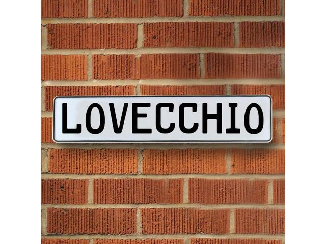 Vintage parts USA VPAY21368 Lovecchio White Stamped Aluminum Street Sign Mancave Wall Art