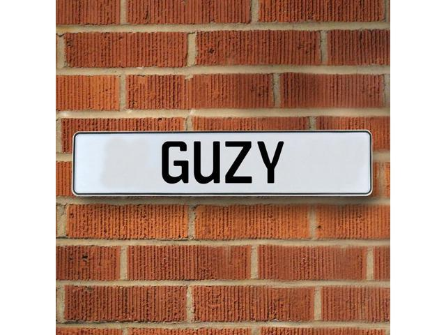 Vintage parts USA VPAY1B1BE Guzy White Stamped Aluminum Street Sign Mancave Wall Art