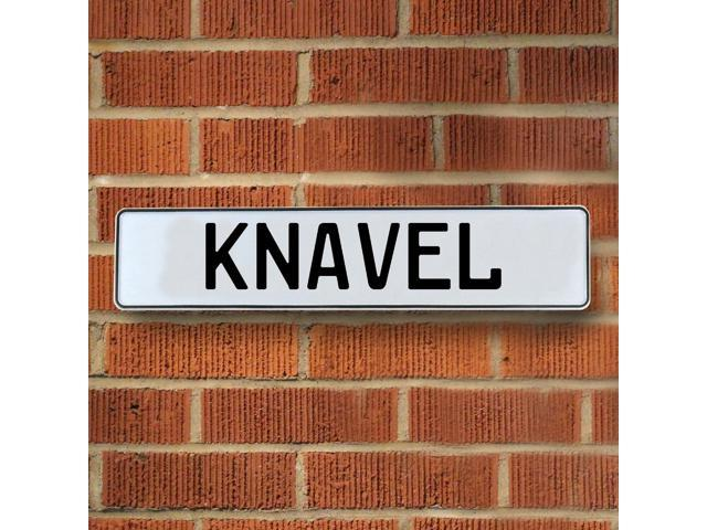 Vintage parts USA VPAY1FDCA Knavel White Stamped Aluminum Street Sign Mancave Wall Art