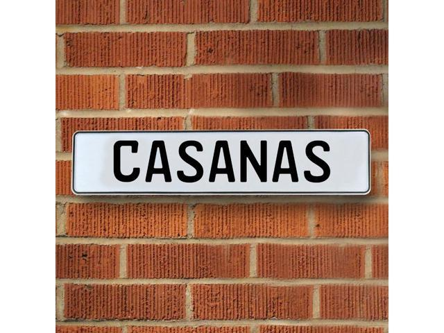 Vintage parts USA VPAY12CB6 Casanas White Stamped Aluminum Street Sign Mancave Wall Art