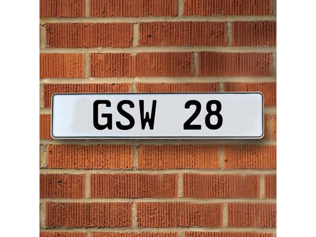 Vintage parts USA VPAYD47 GSW 28 NBA Golden State Warriors White Stamped Street Sign Mancave Wall Art