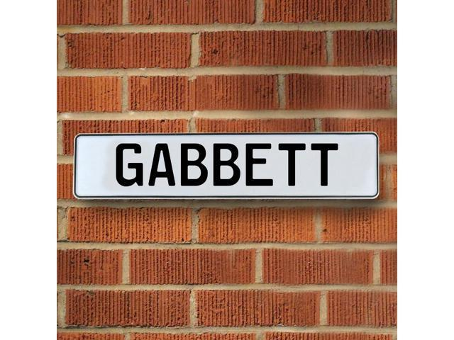 Vintage parts USA VPAY1A103 Gabbett White Stamped Aluminum Street Sign Mancave Wall Art