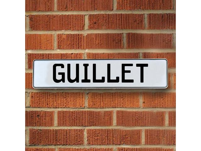 Vintage parts USA VPAY1B086 Guillet White Stamped Aluminum Street Sign Mancave Wall Art