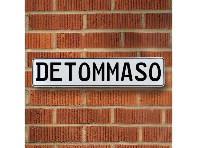 Vintage parts USA VPAY15E51 Detommaso White Stamped Aluminum Street Sign Mancave Wall Art