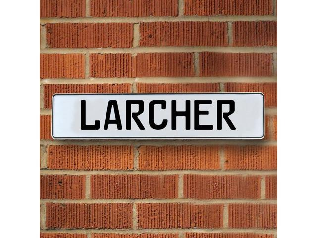 Vintage parts USA VPAY2087A Larcher White Stamped Aluminum Street Sign Mancave Wall Art