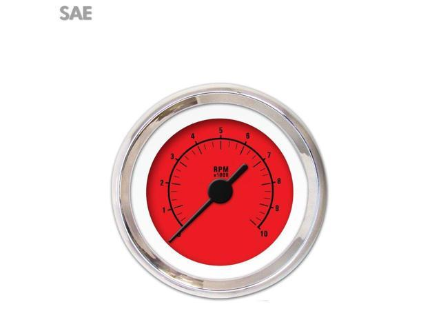 Aurora Instruments GAR161ZEXIABAC Tachometer Gauge - Rider Red , Black Vintage Needles, Chrome Trim Rings rzr 671
