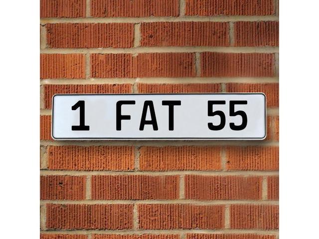 Vintage parts USA VPAY8C8D 1 FAT 55 White Stamped Aluminum Street Sign Mancave Wall Art