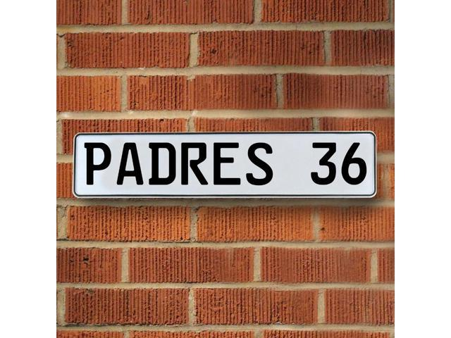 Vintage parts USA VPAY1E08 PADRES 36 MLB San Diego Padres White Stamped Street Sign Mancave Wall Art