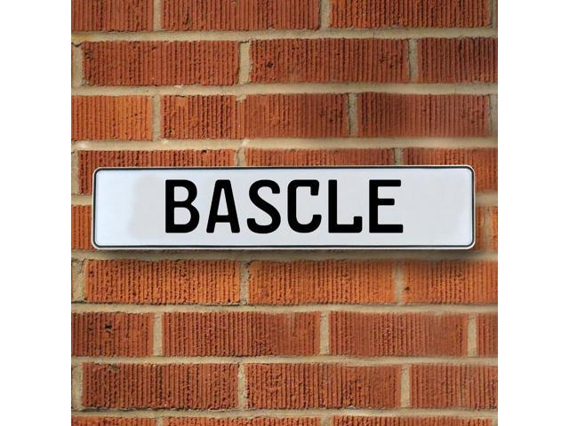 Vintage parts USA VPAYD390 Bascle White Stamped Aluminum Street Sign Mancave Wall Art