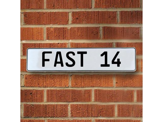Vintage parts USA VPAY96D5 FAST 14 White Stamped Aluminum Street Sign Mancave Wall Art