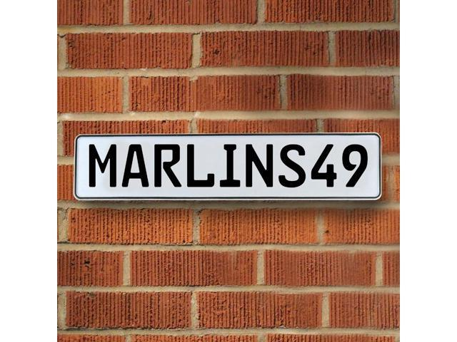 Vintage parts USA VPAY1C80 MARLINS49 MLB Miami Marlins White Stamped Street Sign Mancave Wall Art