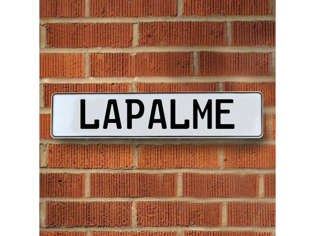 Vintage parts USA VPAY20827 Lapalme White Stamped Aluminum Street Sign Mancave Wall Art