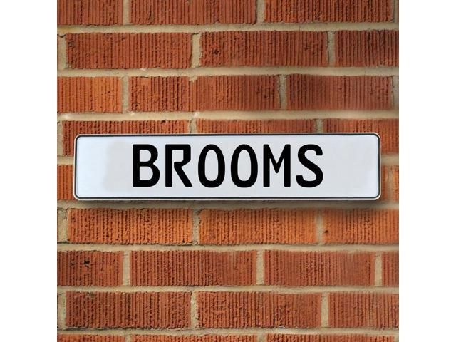 Vintage parts USA VPAYE6A5 Brooms White Stamped Aluminum Street Sign Mancave Wall Art