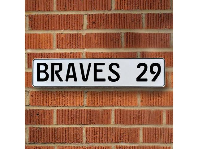 Vintage parts USA VPAY1A4B BRAVES 29 MLB Atlanta Braves White Stamped Street Sign Mancave Wall Art