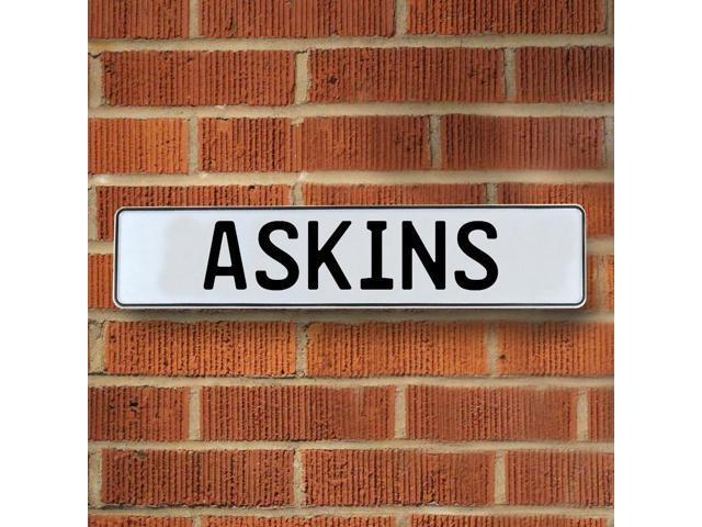 Vintage parts USA VPAYBF18 Askins White Stamped Aluminum Street Sign Mancave Wall Art