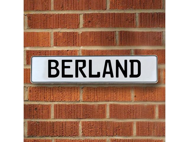 Vintage parts USA VPAYD8D3 Berland White Stamped Aluminum Street Sign Mancave Wall Art