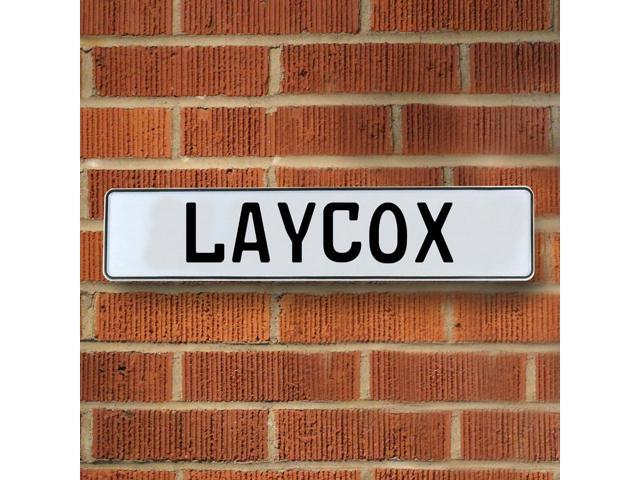 Vintage parts USA VPAY20A6D Laycox White Stamped Aluminum Street Sign Mancave Wall Art