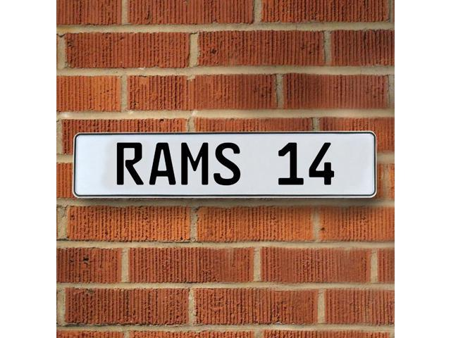 RAMS 14 NFL Los Angeles Rams White Stamped Street Sign Mancave Wall Art traffic vintage wall street personalized plate way circle license aluminum cove st real cir custom enamel road ln garage street