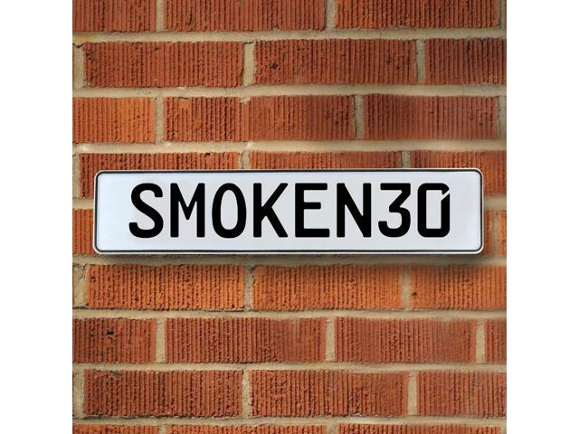 Vintage parts USA VPAY92A4 SMOKEN30 White Stamped Aluminum Street Sign Mancave Wall Art