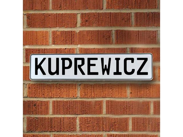 Vintage parts USA VPAY20428 Kuprewicz White Stamped Aluminum Street Sign Mancave Wall Art