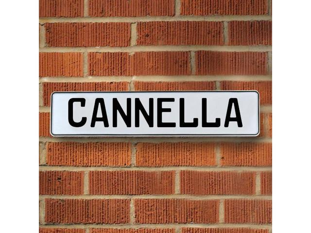 Vintage parts USA VPAY12A4F Cannella White Stamped Aluminum Street Sign Mancave Wall Art