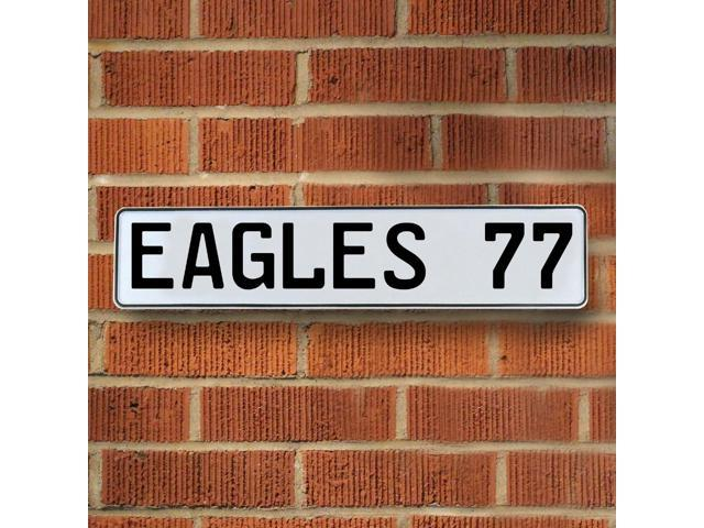 EAGLES 77 NFL Philadelphia Eagles White Stamped Street Sign Mancave Wall Art way traffic circle embossed plate ct avenue drive real lane man cave personalized cove street reflective metal pkwy road