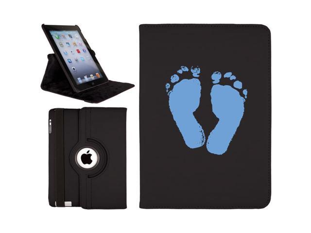 Baby Boy Footprint design on Black iPad Air (5th Gen iPad) Swivel Stand Case