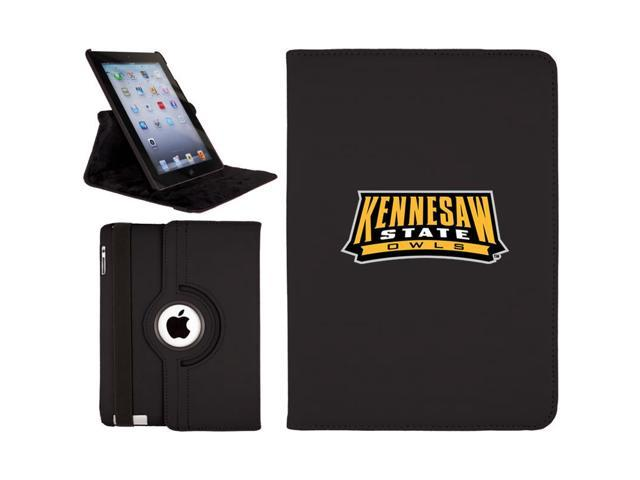Kennesaw State Owls Mark design on Black iPad Air (5th Gen iPad) Swivel Stand Case