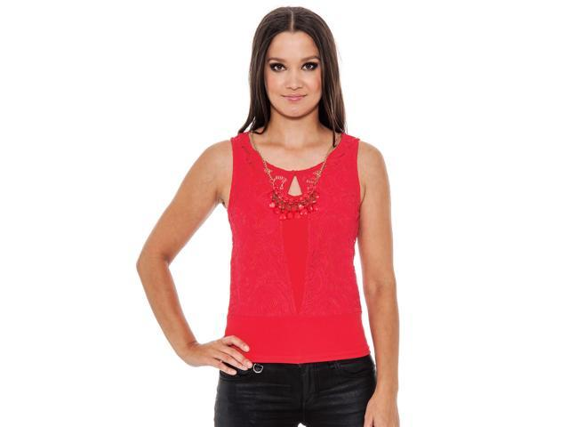 True Rock Jr Women's Lucy Lace Sleeveless Shirt-Red-XL