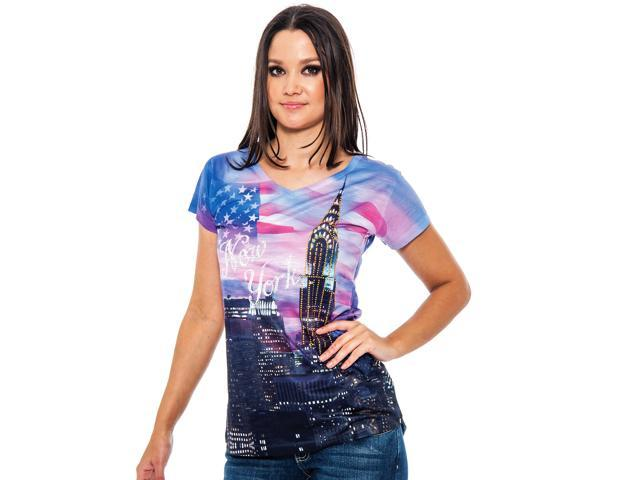 True Rock Jr Women's Liberty New York Bling V-Neck T-Shirt-Purples/Multi-Small