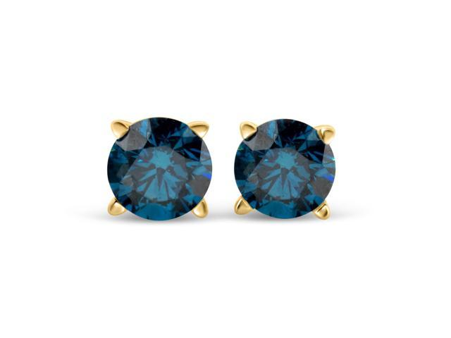 3/4cttw Blue Diamond Round Stud Earrings 14k in Yellow Gold