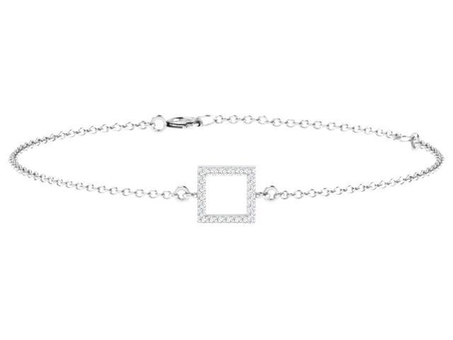 His & Her 0.08 Cts Diamond Round Shape Bracelet in 925 Sterling Silver (GH Color, PK Clarity) with 16