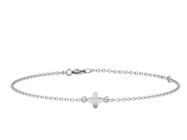 His & Her 0.01 Cts Diamond Flower Bracelet in 925 Sterling Silver (GH Color, PK Clarity) with 16