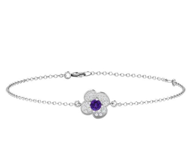 His & Her 0.08 Cts Diamonds & 0.2 Cts Amethyst Flower Shape Bracelet in 925 Sterling Silver with Yellow Gold Plating (GH Color, PK Clarity) with 16