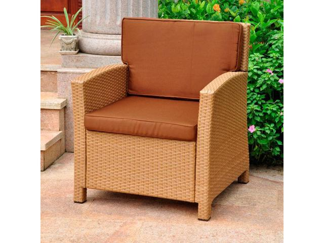 Lisbon Resin Wicker Contemporary Deep Seat Chair with Cushion